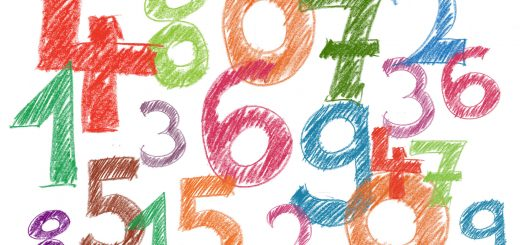 numbers drawn on paper with crayons