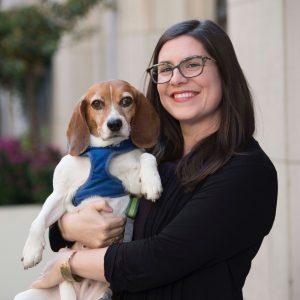 Ashley R. Maynor with service dog, Cardamom
