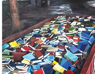 C&RL News cover featuring a painting of discarded books in a dumpster