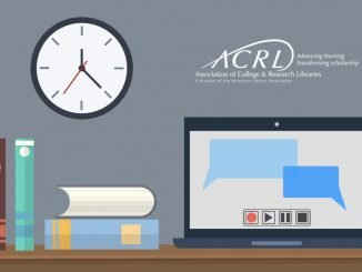 graphic with a desk, computer, books, and clock