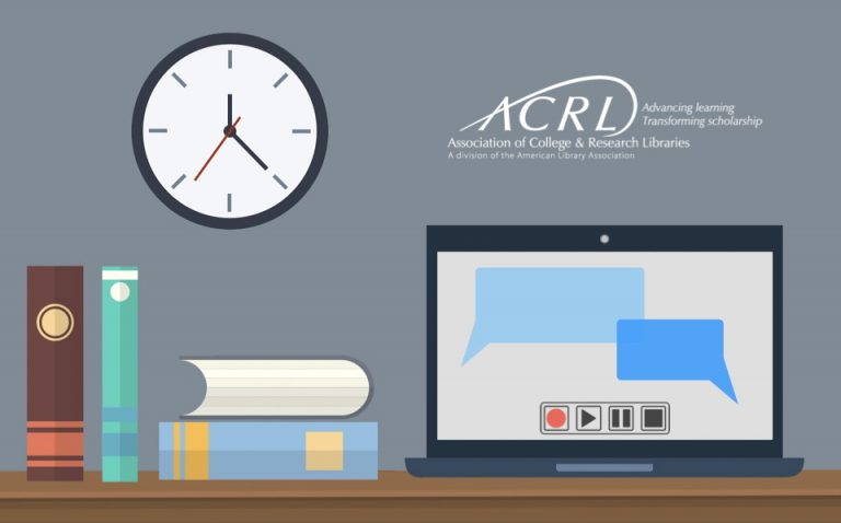Illustration of books and a computer on a desk with a clock on a wall.